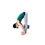 膝下のあたりでブロックをしっかり挟み、脚の付け根から前屈する。膝は真っすぐ伸ばしてキープ。