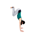 壁から一足分離れて立ち、両手を床に。お腹を引き上げながら両足で壁を登り、お尻と足がほぼ同じ高さになったら5呼吸。3セット行う。