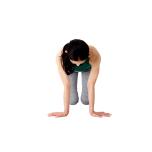 腕を外回りに開いて外旋させながら、指先を外側に向け、手のひらを床につける。