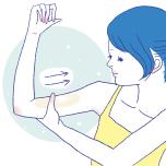 心臓から遠い箇所から心臓に近いほうへマッサージ。手のひらを密着して流していくと、より効果的です。