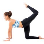 ②左膝を軽く曲げ、股関節から一回転。①~②を反対側も。