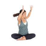 両手を上げてツイストしながら鼻呼吸を3分。内臓の活性とともにネガティブな心を浄化。