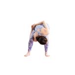 両膝を軽く曲げ、上体を前へ倒す。右手を脚の間から通して右太腿にかけ、背中に回した左手と握手する。
