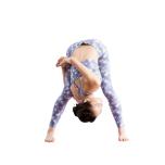 腕をかけた右脚の膝をできるだけ伸ばし、腰を引き上げる。上体を右側にねじり、肩を開く。反対側も同様に。