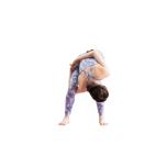 腰幅よりやや広めに脚を開いて立ち、前屈。膝を軽く曲げ、右手を脚の間から通し、背中に回した左手と握手。