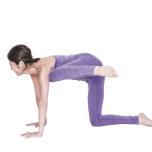 左膝を横に上げ、両腕を伸ばしたまま膝を肩に近づけて戻す。5回繰り返し、1~4を反対側も行う