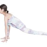 四つん這いになり、右足を一歩前に出し、左膝を床から上げる。腰の位置は、できるだけ低く