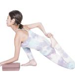 左肘を曲げてブロックにのせる。重心を前へかけ、胸を上げて鼠蹊部のストレッチを強める。