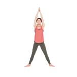 肩幅の2倍に足を開き、つま先は外側に向ける。両手は頭上で合わせ、骨盤を立てたまま腰を下げていく。