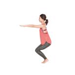 息を吐きながら膝を曲げ、腰は後方ではなく真下に下げて5呼吸キープ。目線は一点に定めて。