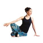 右肘で右膝を押し右腿と上体をV字で腹部ツイスト。反対側も同様に。