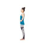脚に左脚を揃えて立ち姿勢に戻ったら、左脚で同様に大股で一歩踏み出す。左右で5回。