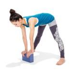 腰が丸まったり膝が曲がるなら、無理して手を床につけようとせず、ブロックを使おう。