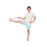 で中臀筋を縮める。膝が伸びない人は足裏にベルトやタオルをかけて。