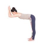 腰の高さ程度の台や椅子の背に肘をのせる。両肘を肩幅くらいに開き、股関節から上体を曲げる。