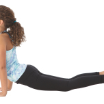 大きく息を吸いながら上体を前に出して、手首の真上に肩がくるようにし、上半身を床と平行にしてプランクポーズに入る。息を吸って、ゆっくりと肘を曲げながら体を床に近づけ、チャトランガダンダーサナ(四肢で支え