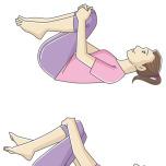 膝を抱えて股関節を緩めるストレッチ